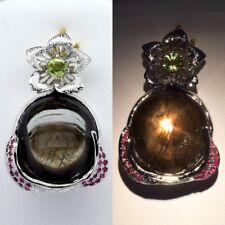 Black star sapphire pendant ebay natural 6 ray black star sapphire pendant with peridot ruby in sterling silver aloadofball Choice Image