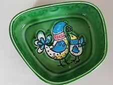 Mid century irish shamrock handpainted chicken hen design dish pin dish trinket