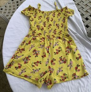 Yellow Floral Playsuit By Abercrombie Kids - Age 13-14 Years
