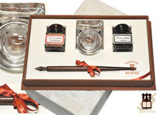 Antique Calligraphy Pen In a Gift Box, Glass Ink Pot & 2 Coloured Ink Bottles