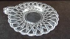"""Indiana Glass Clear Pretzel Glass 6 1/4"""" Handled Small Cheese Plate Tray"""