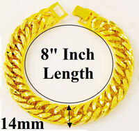 "18k Yellow Gold Mens 14mm Wide 8"" Etched Curb Link Chain Bracelet w GiftPkg D758"