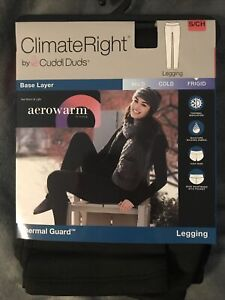 Climate Right CUDDL DUDS~AEROWARM Thermal Guard Black LEGGING~Women's SMALL~NIP