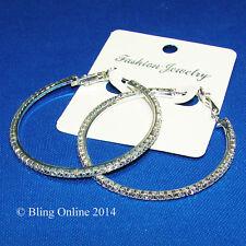 5cm SILVER TONE HOOP EARRINGS DIAMANTE CRYSTAL DETAIL WEDDING PROM BRIDAL BLING