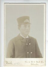 CHINESE RAILROAD CONDUCTOR CABINET CARD MILWAUKEE WISCONSIN 1893 VERY VERY RARE