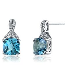14K White Gold Swiss Blue Topaz Earrings Ribbon Design Cushion Cut 5.00 ct