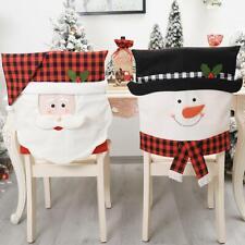Christmas Non-Woven Chair Cover Santa Claus Snowman Party Chair Back Slipcover