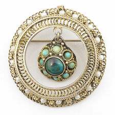 """Handmade Vintage Bronze Plated on 925 Sterling Silver 1.6"""" Pendant/Pin Brooch"""