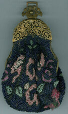 1900/20's OLD BEADED PURSE * FANCY CLASP CLOSURE * PRETTY, ORNATE BEADS * AD883