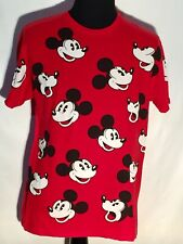 Mickey Mouse Smiling Pattern Walt Disney Cartoon Character Large Red T-shirt