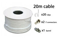 20m White RG6 Satellite freeview Digital TV Sky+ HD Aerial Coax Cable Coaxial