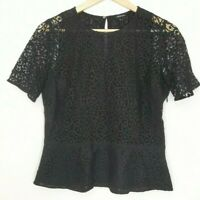 Club Monaco Womens Shirt Lace Top Peplum Blouse Short Sleeve Zipper Black Sz M