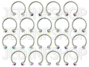 Circular Barbell Horseshoe Ring   1.2mm (16g) - 18mm   Double Gem - 18 Colours