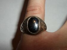 VINTAGE STERLING SILVER HEMATITE RING WHEELER CO WMCO SIZE ABOUT 11 1/4 ARROWS