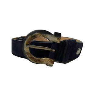 Y-1313119 New Salvatore Ferragamo Suede Buckle Belt Adjustable Size 42 Fits 40