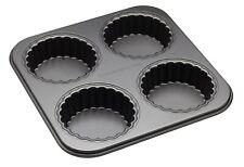 Kitchen Craft MasterClass Non-Stick Four Hole Loose Base Fluted Mini Tartlet Pan