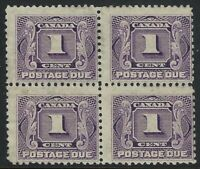 Scott J1: 1c First Postage Due stamp in block of 4, very disturbed gum, F-H