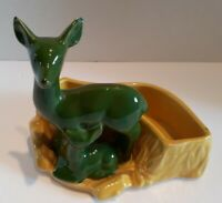 Vintage Shawnee Art Pottery Yellow Deer & Fawn Green Succulent Planter #669 NICE