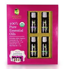 Paradise Springs Essential Oils 4-Pack Tea Tree, Lavender, Eucalyptus & Lemon