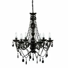 Vintage Crystal Chandelier Lighting Ceiling Pendant Lamp Black Light Fixture New