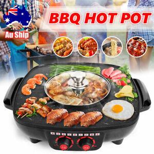 Electric BBQ Hot Pot Pan Plate Shabu Oven Grill Boil Cook Barbecue Hotpot AU