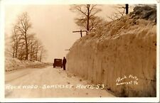 Postcard PA RPPC Huge Snow on Rockwood Somerset Route 53 Old Car 1930s M14