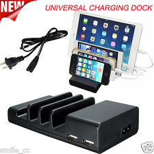 Universal 4 USB Port Charger Dock Charging Station for Mobile Phone Tablet Black