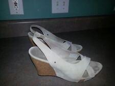 Women's Uggs Australia 1771 Ivory Suede Slingback Cork Wedge Heels Sandals US 10