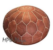 MPW Plaza Pouf, Arch Shell, Brown, Moroccan Leather Ottoman (Un-Stuffed)