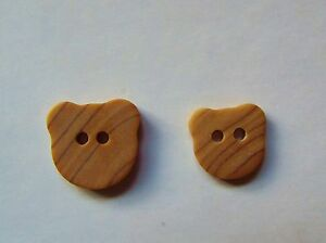25 WOOD EFFECT PUSSY CAT HEAD BABY CRAFT BUTTONS 13 or 15mm