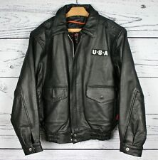 INTERSTATE Heavy Black Leather Motorcycle Jacket w/USA Flag & Eagle Patch Sz. L