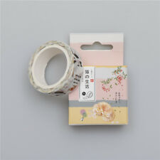 DIY 1.5CM cat Washi Sticker Decor Roll Paper Masking Adhesive Tape Crafts New!0Q