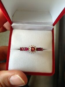 New 925 Sterling Silver Gemstone Band Ruby Ring Size P Best Gift (Red)