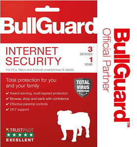 BULLGUARD INTERNET SECURITY 2021 LATEST EDITION - 1 YEAR - 3 USER LICENCE