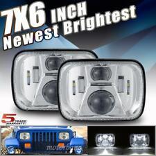 Pair 300W 5x7 7x6 LED Headlight Hi-Lo Sealed Beam H6054 For Jeep Cherokee XJ YJ