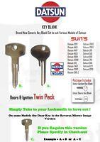 DATSUN TWIN KEY BLANK SET - Door & Ignition set - 120Y  140 180B 200B & More