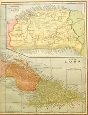 Beautiful Original 1899 Cuba w/Havana inset Large Color Map/14x20 2 page