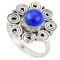 Natural Blue Lapis Lazuli 925 Sterling Silver Ring Jewelry Size 8.5 D26368