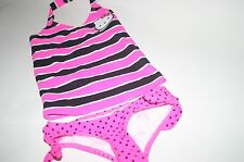 Girl's HELLO KITTY by Sanrio 2 pc Swimsuit Bathing Suit Pink Black Polka Dots