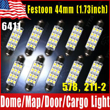 10x White 44mm Festoon 12-SMD LED Dome Map Interior Light Bulbs 578 211-2 212-2