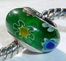 Green Blue Single Core Flowers Millefiori Glass Bead for European Charm Bracelet