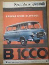 KFT KRAFTFAHRZEUGTECHNIK 2/1965 4* Barkas 1000 Kleinbus Honda Dream CS72 Fiat