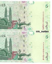 """MALAYSIA  RM5 x 2pcs R/N ALI HASSAN First Prefix AA5685123~5124  """"UNC"""""""
