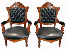 Pair of Victorian Carved Walnut Arm Chairs in Leather 1800-1899 #7406