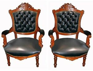 Pair of Victorian Carved Walnut Arm Chairs in Leather 1880 #7406