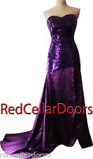 New Long Royal Purple Satin Gown Sequined Bodice Long Flowing Train/Skirt Sz 2