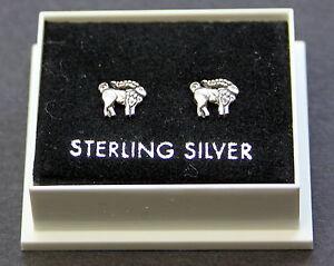 Sterling Silver 925 Stud Earrings, ZODIAC SIGN, CAPRICORN, BUTTERFLY BACKS,BOXED