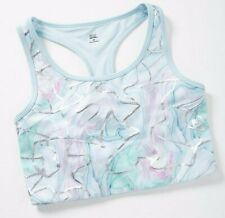 NWT JUSTICE COLLECTION X Girl's Cutout Longline Sports Bra Marble Blue Sz 38