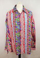 Mens Vintage 70s Style Disco Prince Crazy Shirt Aztec Cotton Festival  XL