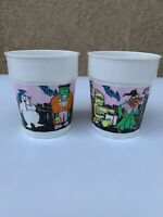 Vintage Halloween PUNCH CUPS w/Pumpkins/ghost/witch/Frankenstein Lot Of 2 Cups